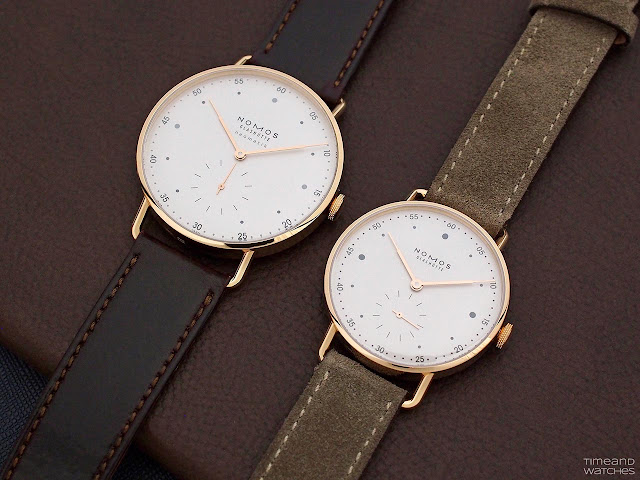 Nomos Glashütte Metro Rose Gold Neomatik 39 and Metro Rose Gold 33