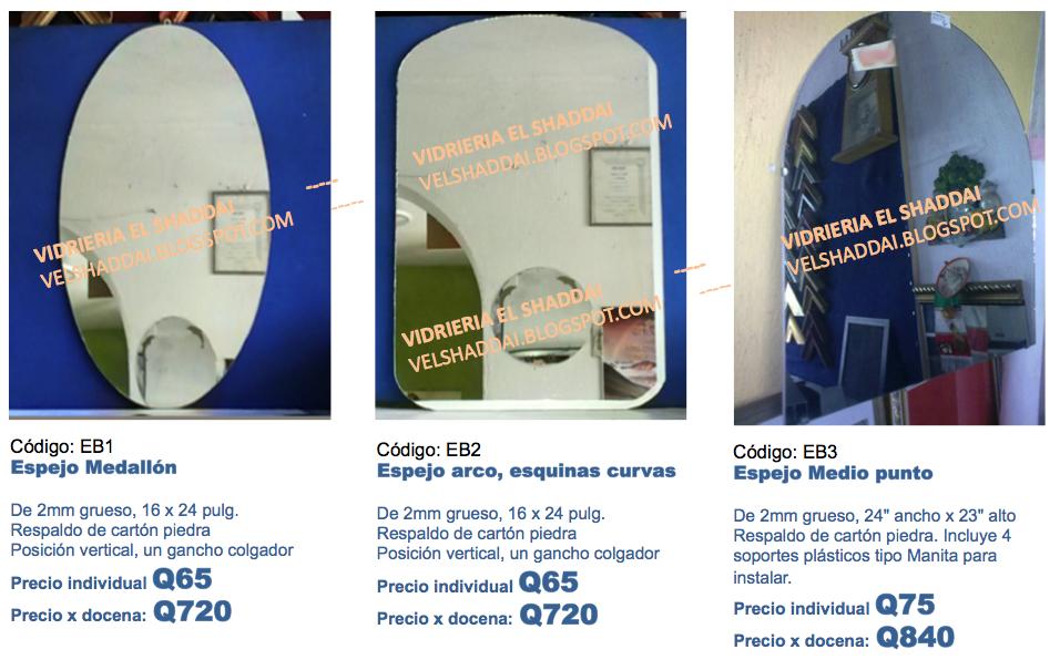 Vidrieria y enmarcadora el shaddai guatemala vidrios for Espejos de cuerpo entero baratos