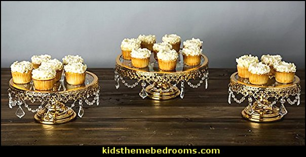 Gold Plated Glass Top Cake Stand Set of 3, Round Gloss Shiny Metal Dessert Cupcake Wedding Party Pedestal Display with Crystals