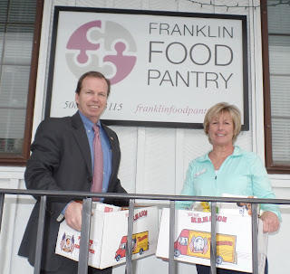 Register O'Donnell with Sue Kilcoyne, Operations Manager at the Franklin Food Pantry