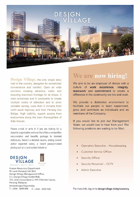 Design Village Penang Vacancy Full Time