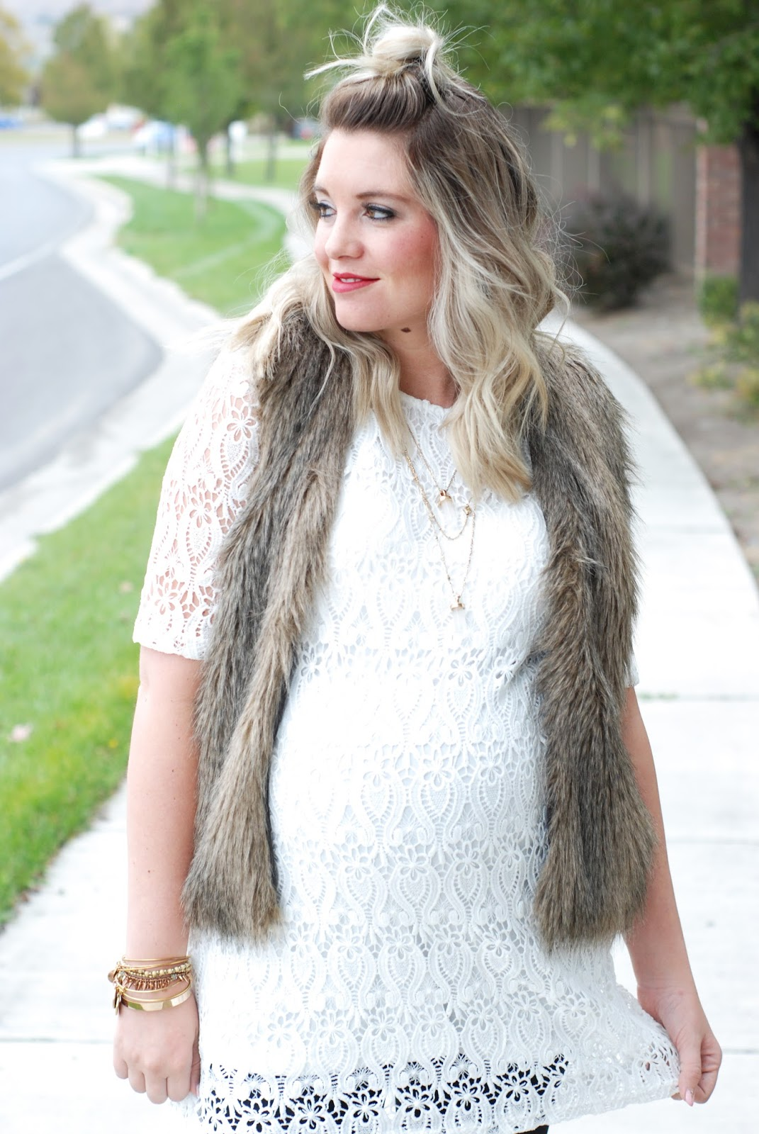 Fur Vest, Jane Stone Jewelry, Fall Outfit, Maternity Outfit