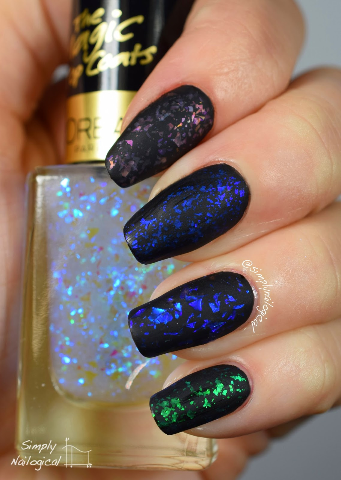 Simply Nailogical Matte Flakie Skittle Over Black For Mcpolish