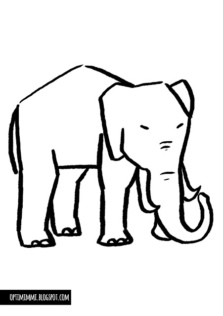 A simple coloring page of an elephant / Yksinkertainen värityskuva norsusta