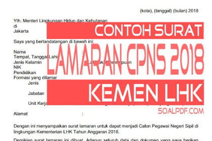 CONTOH FORMAT SURAT LAMARAN CPNS KEMEN LHK 2018