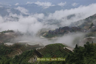 Mist over Chinese rice terraces.
