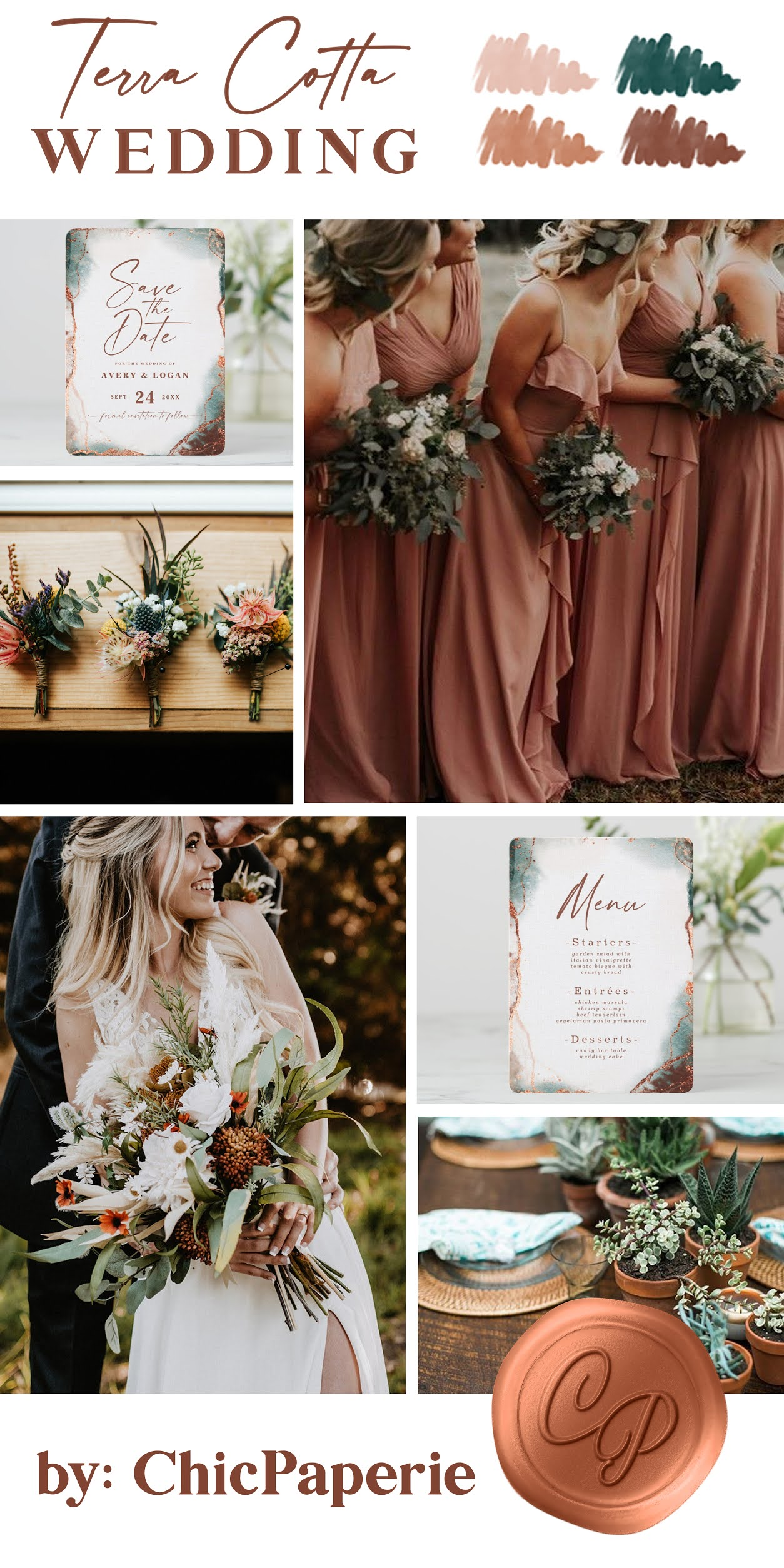 Terra Cotta Wedding Colors: Dusty Pink, Dark Green, Burnt Sienna, and Terracotta