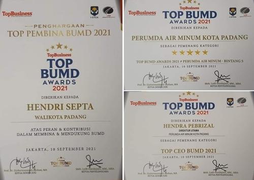 Ditengah Badai Pandemi, Perumda Air Minum Kota Padang Terima Penghargaan Top BUMD Awards 2021