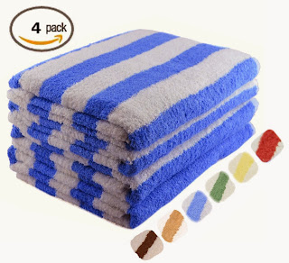 Large Beach-Towel Pool-Towel in Cabana Stripe- Blue, 4-Pack, 100% Cotton