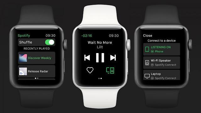تعمل ثلاث ساعات Apple على تشغيل تطبيق Spotify.