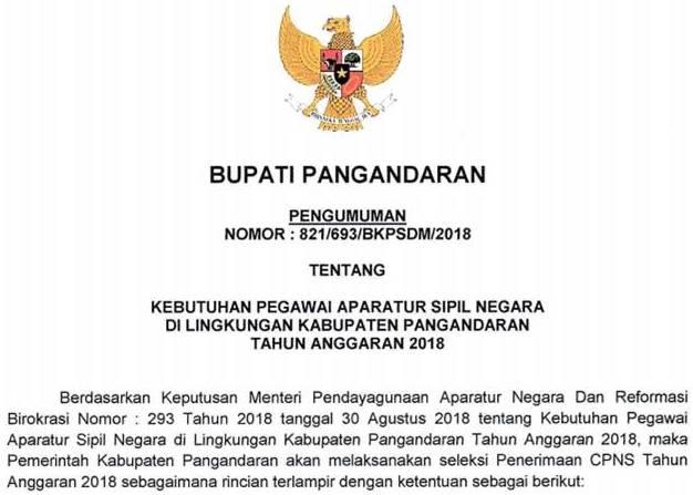 Formasi CPNS Kab. Pangandaran Jawa Barat