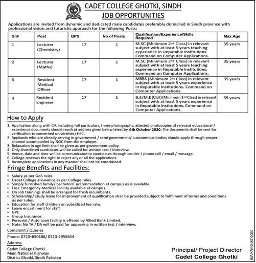 Latest Teaching Jobs   Cadet College Ghotki, Sindh Jobs 2020