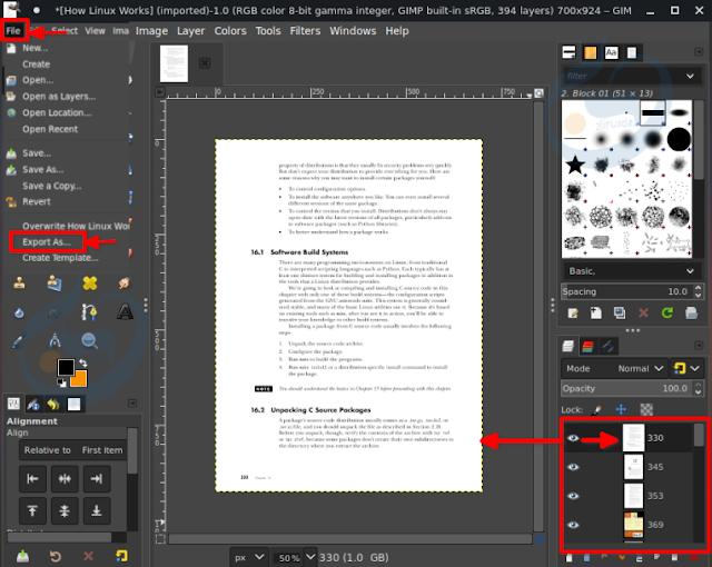 عرض ملف PDF في GIMP