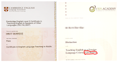 CELTA and 120 Hour TEFL certificates compared