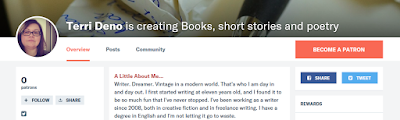 A screen-shot of Terri's Patreon page