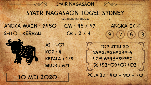 Prediksi Togel Sydney Minggu 10 Mei 2020 - Nagasaon Sydney