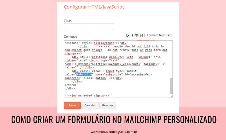 criar um formulário no mailchimp