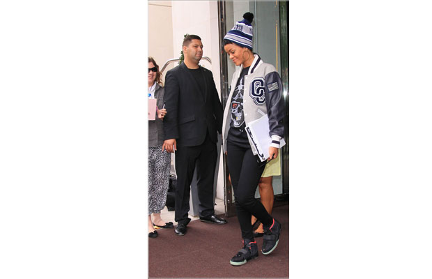 61cc12e151de2b Rihanna Coolin in a Limited Edition Jacket and Yeezy 2 s!!!