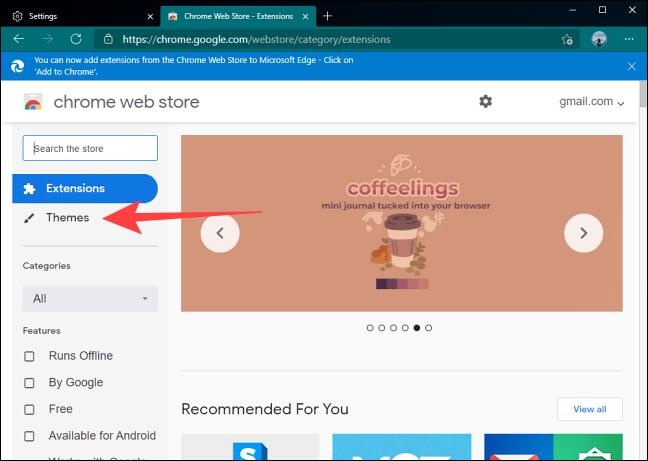 حدد قسم السمات في Google Chrome Web Store