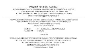 Pengumuman Hasil Tes SKD CPNS 2019 Kabupaten Bandung Provinsi Jawa Barat