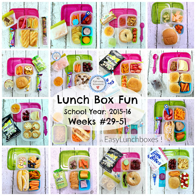 Lunch Box Fun 2015-16: Weeks #29-51. Lots of super simple super yummy lunch box ideas in @easylunchboxes #lunchboxfun