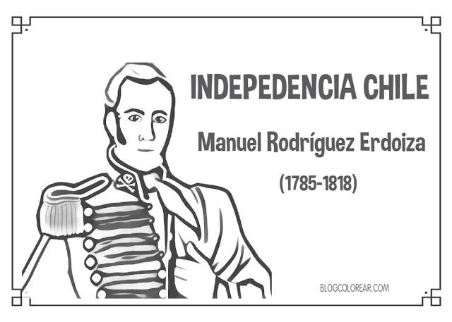 Próceres Independencho de Chile para colorear Manuel Ridriguez