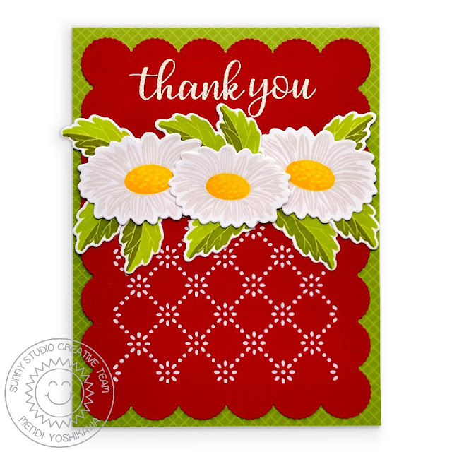 Sunny Studio Blog: Layered Daisy Red, White & Green Scalloped Thank You Card (using Cheerful Daisy & Everyday Greetings Stamps, Frilly Frames Eyelet Lace Dies & Gingham Jewel Tones Paper)
