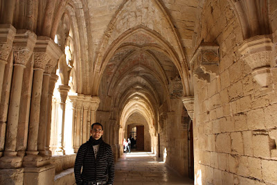 Gothic arches of the cloister of Poblet Monastery