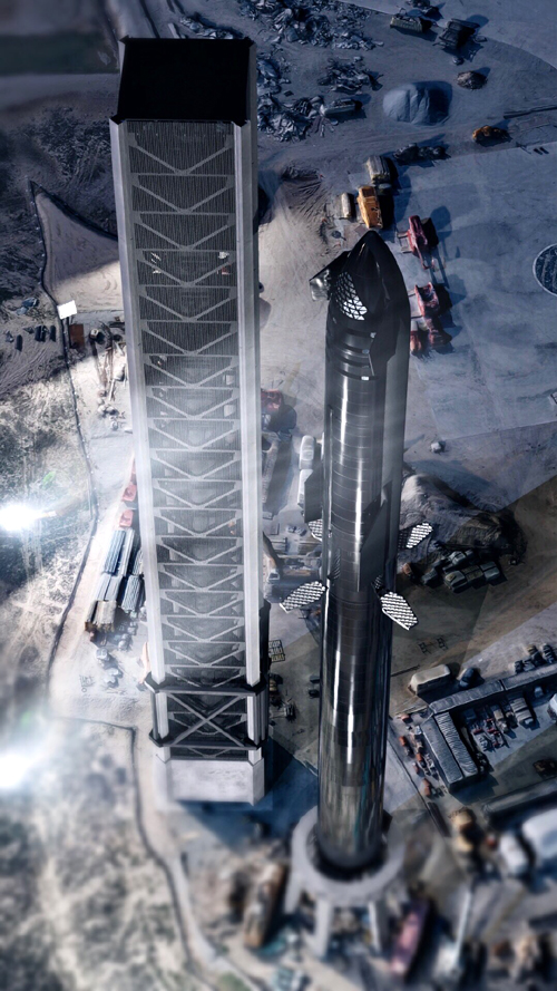 An artist's concept of SpaceX's Starship Super Heavy rocket atop its pad at the Orbital Launch Site in Starbase, Texas.