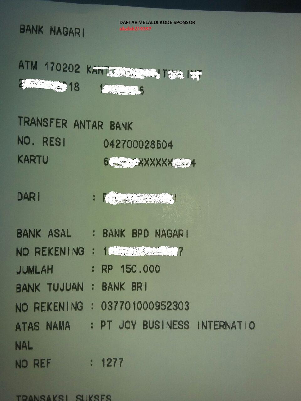 Struk Bukti Transfer Pembayaran Member Joybiz