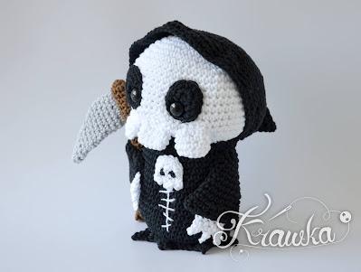 Krawka: Little Grim Reaper Halloween creepy cute pattern - Death spooky ghost pattern by Krawka