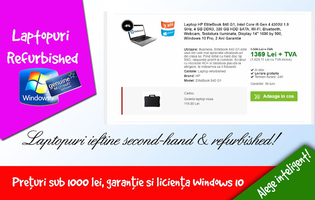 Vrei un laptop ieftin second hand? Vezi recomandare pentru cele mai ieftine laptopuri second hand,cu preturi sub 1000 de ron cu garantie si sistem de operare cu licienta Windows 10