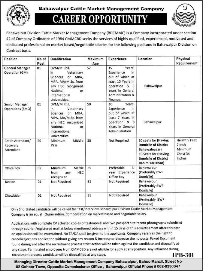 Bahawalpur Cattle Market Management Company Jobs 2021 Advertisement