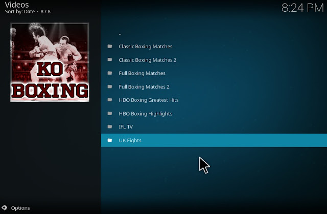 Watch boxing matches with koboxing kodi addon