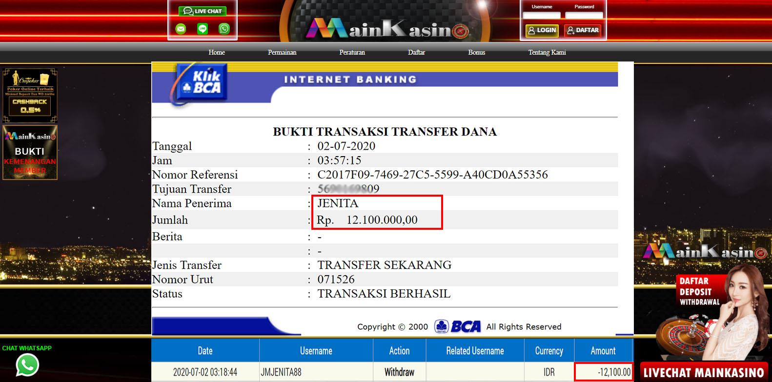 Selamat Kepada Member Setia MAIN KASINO Withdraw RP  12.100.000