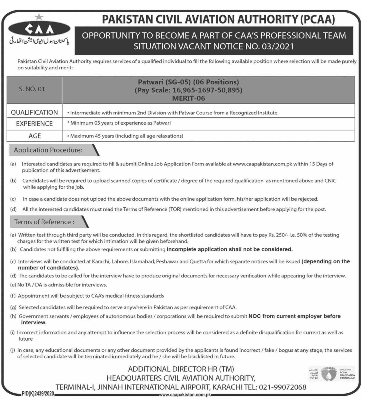 Pakistan Civil Aviation Authority PCAA Jobs 2021 in Karachi