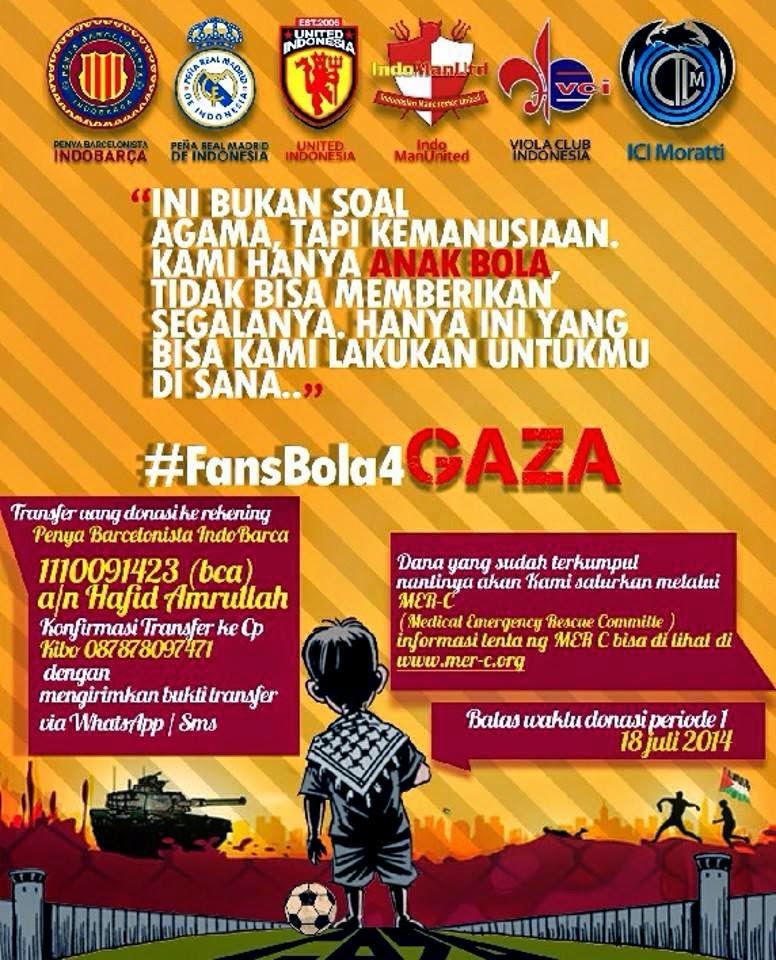 #fansbola4GAZA Gerakan Kemanusiaan dari fans Klub Sepakbola