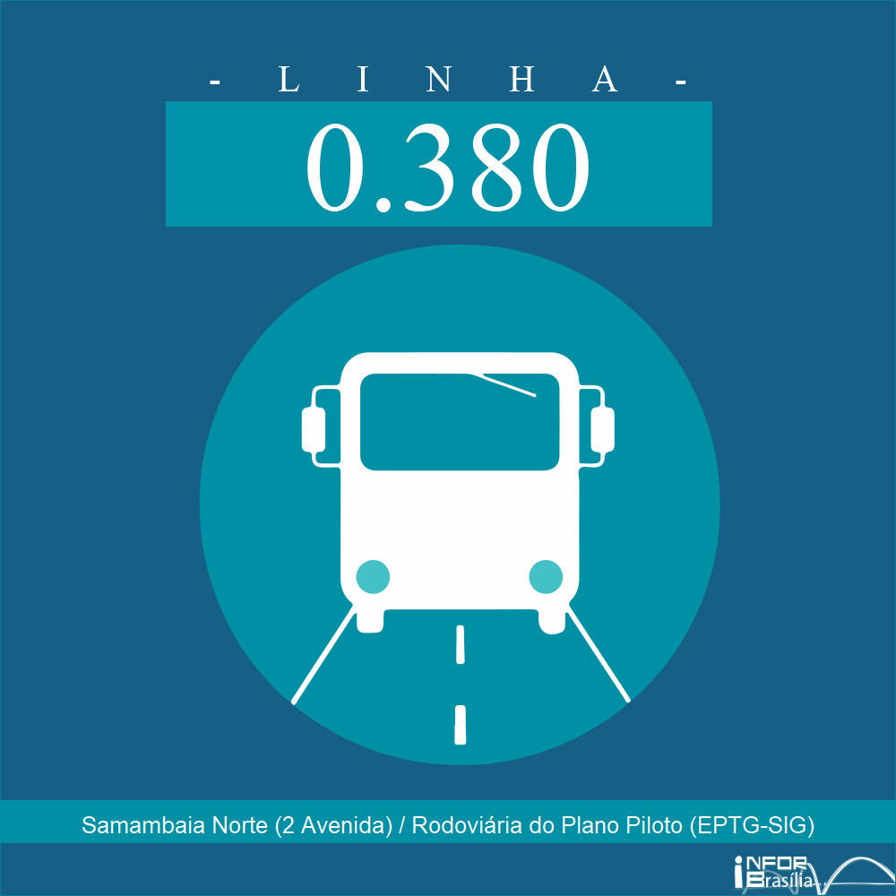 Horário de ônibus e itinerário 0.380 - Samambaia Norte (2 Avenida) / Rodoviária do Plano Piloto (EPTG-SIG)