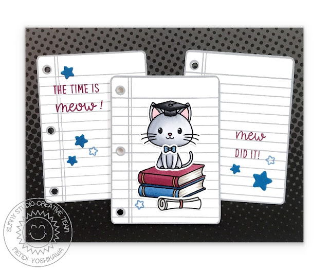 Sunny Studio Blog: The Time is Meow! Mew Did it! Punny Graduation Kitty Card by Mendi Yoshikawa (using Grad Cat, School Time & Woo Hoo Stamp Sets)