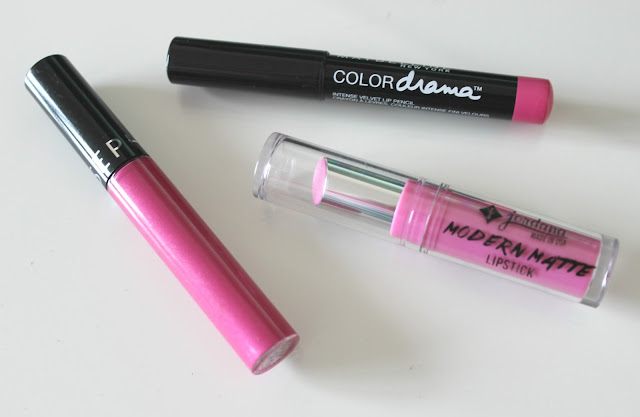 A picture of Sephora Cream Lip Stain, Maybelline Color Drama Lipstick and Jordanna Modern Matte Lipstick