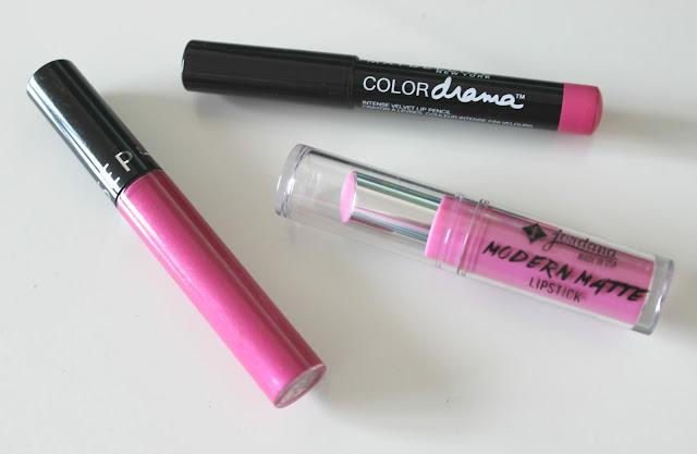 A picture of Sephora Cream Lip Stain, Maybelline Color Drama Lipstick and Jordanna Modern Matte Lipstick
