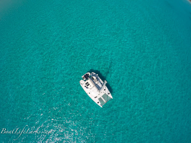 Lagoon 380 drone shot, clear waters, Eleuthera