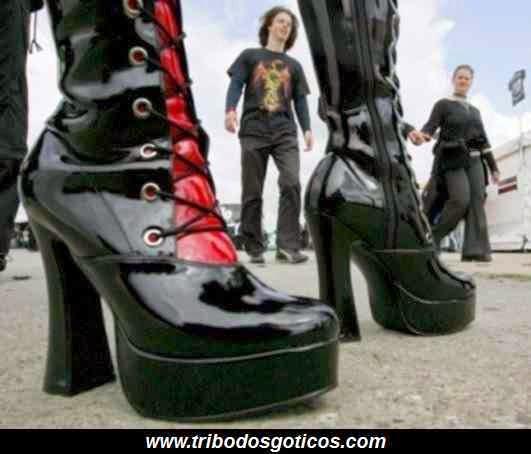 bota gotica goticos coturno preto moda