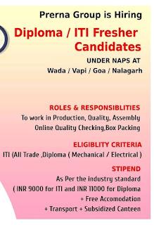 Prerna Group Recruitment ITI and Diploma Fresher Candidates For Wada, Maharashtra/ Vapi, Gujarat/ Goa/ Nalagarh, Himachal Locations