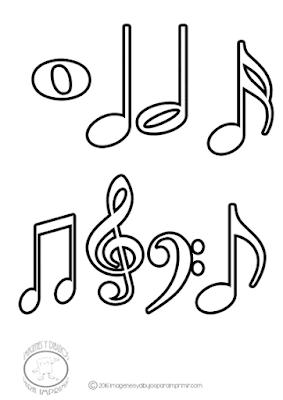 dibujo de las notas musicales para colorear