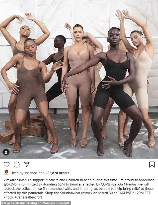 Kim Kardashian smoldered in nude shapewear from her line SKIMS