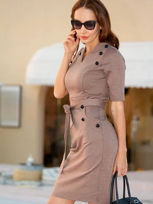 short sleeve slim fit belted pencil dress