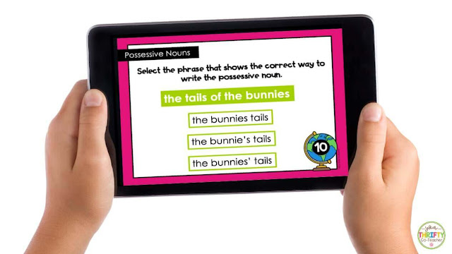 Possessive noun boom cards are interactive digital task cards that are no prep for the teacher.