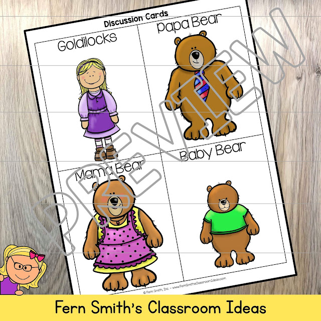 Goldilocks and the Three Bears Kindergarten Week 3 Small Group & Centers Freebie