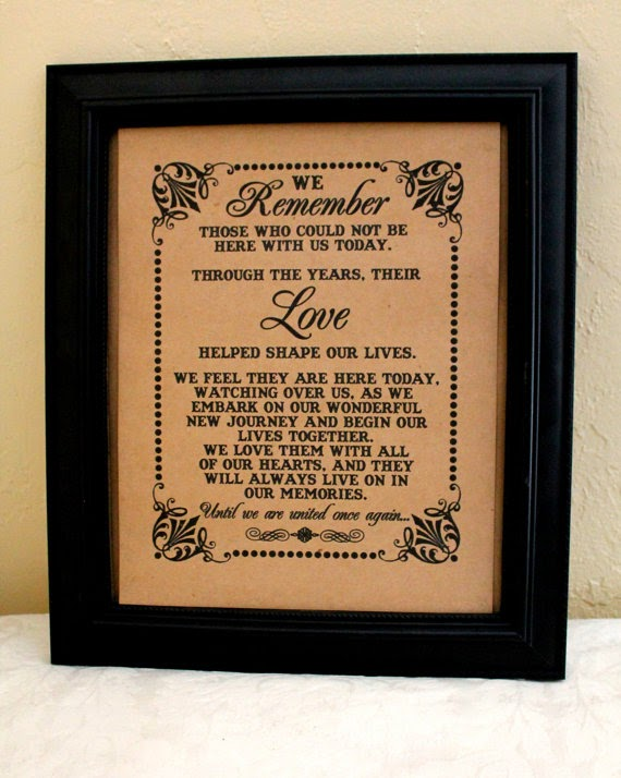 in memory of loved ones wedding sign